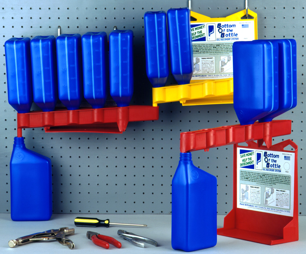 Bob the bottom of the bottle oil recovery system for Recycle motor oil containers